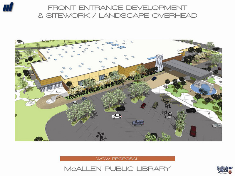 An overhead view of the front entrance of the new Main Library.
