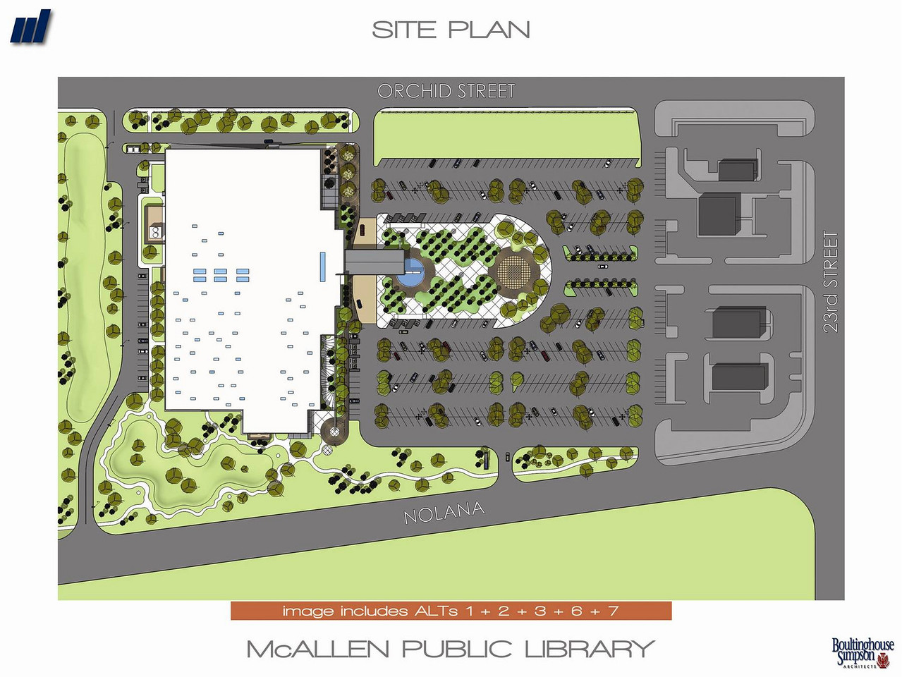Bird's eye view of the site plan of the new Main Library.