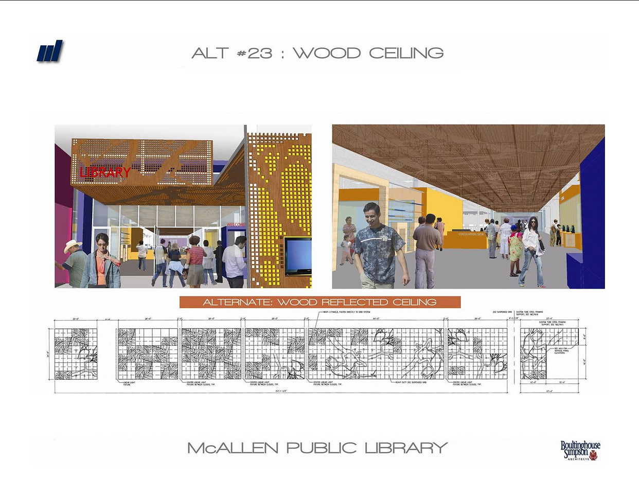 Interior view of the entrance to the new Main Library, focusing on the custom-designed ceiling panels. The wood-reflected ceiling is the approved design.