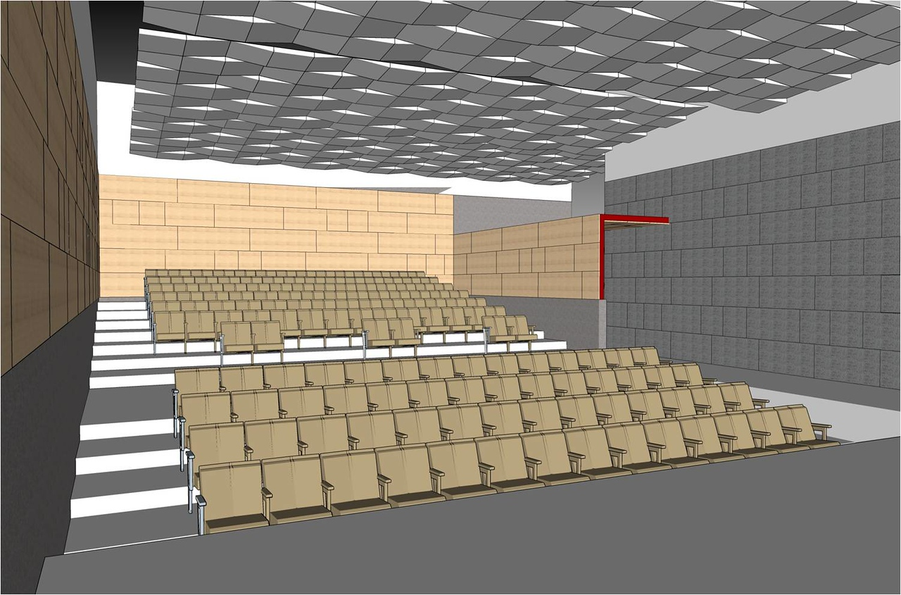 Interior of the auditorium where programs, events, shows, and other activities will be held.