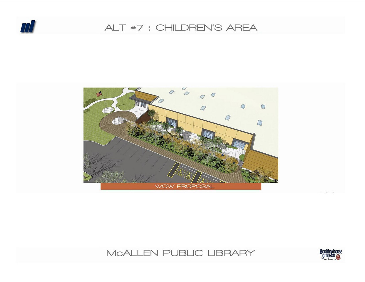 Overhead exterior view of the new Main Library's children's area.