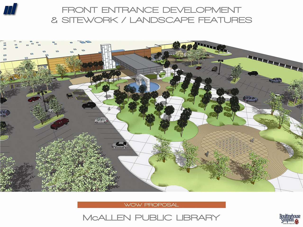 An overhead view of the front entrance and landscape features of the new Main Library.