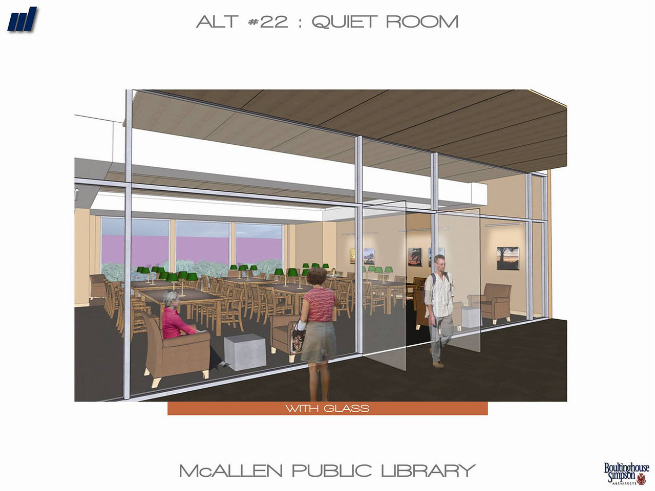 An interior view of the new Main Library, showing the quiet room that patrons will be able to use for study, reading and relaxation.
