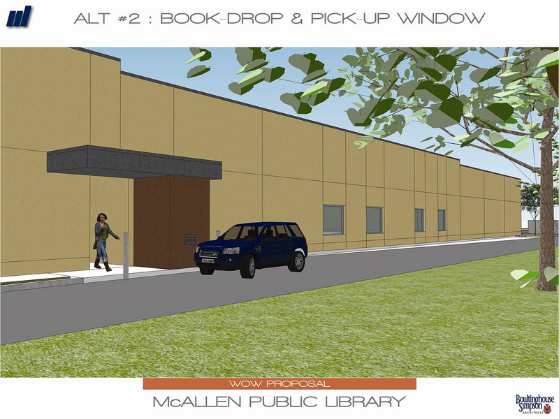 The exterior book drop and pick-up window of the new Main Library.