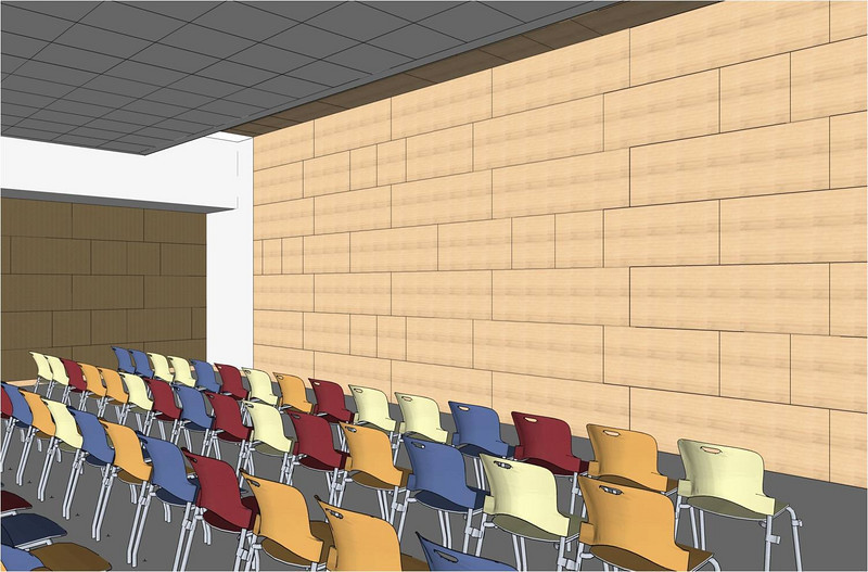 Interior of one of the multi-purpose meeting rooms.