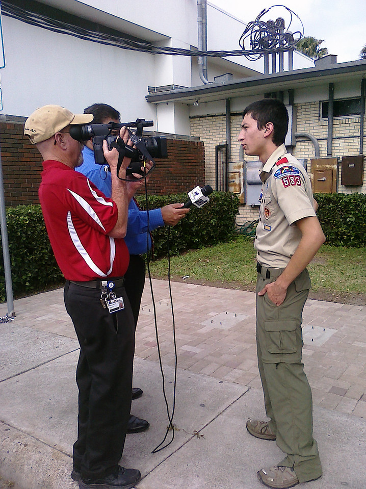 MCN 12 interviewing Eagle Scout, Arnold Martinez.