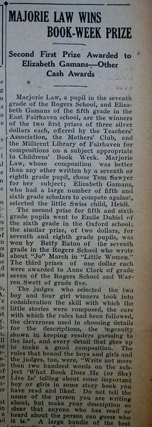 Reading award 11/12/1926  p. 1, c. 7  (first part of article)
