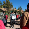 Jon Easdon, a guide at Anglers Covey, organizes volunteers into three groups to clean each of the reservoirs off Pikes Peak Highway on Sunday, Oct. 1, 2017. The groups split up from the parking lot to clean up Crystal Creek Reservoir, North Catamount Reservoir and South Catamount Reservoir.<br /> <br /> (The Gazette, Nadav Soroker)