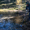 Barbara Falasca uses a stick to pull a plastic bottle from Crystal Creek Reservoir on Sunday. Anglers Covey organized the cleanup.<br /> <br /> (The Gazette, Nadav Soroker)