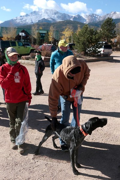 John Lydiatt pets his german shorthair pointer Jaxy while waiting for the Creek Week cleanup to get underway on Sunday, Oct. 1, 2017. Lydiatt heard about the cleanup from the organizers at Anglers Covey.<br /> <br /> (The Gazette, Nadav Soroker)