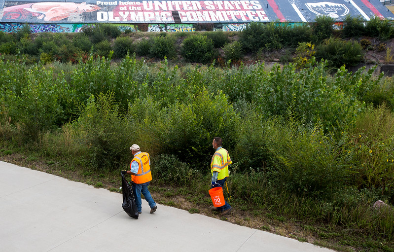 Brian Martinez and Jim Quick walk along the Pikes Peak Greenway Trail looking for trash on Tuesday, Oct. 3, 2017. The city employees were participating in Creek Week with other members of the water resources division.<br /> <br /> (The Gazette, Nadav Soroker)
