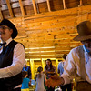 Tom Parker, left, and Merell Folsom swing partners in a barn dance at the Rock Ledge Ranch Harvest Festival on Saturday, Oct. 7, 2017. Parker is one of the current callers for the Old Time Dancers and Folsom is the retired former-caller.<br /> <br /> (The Gazette, Nadav Soroker)