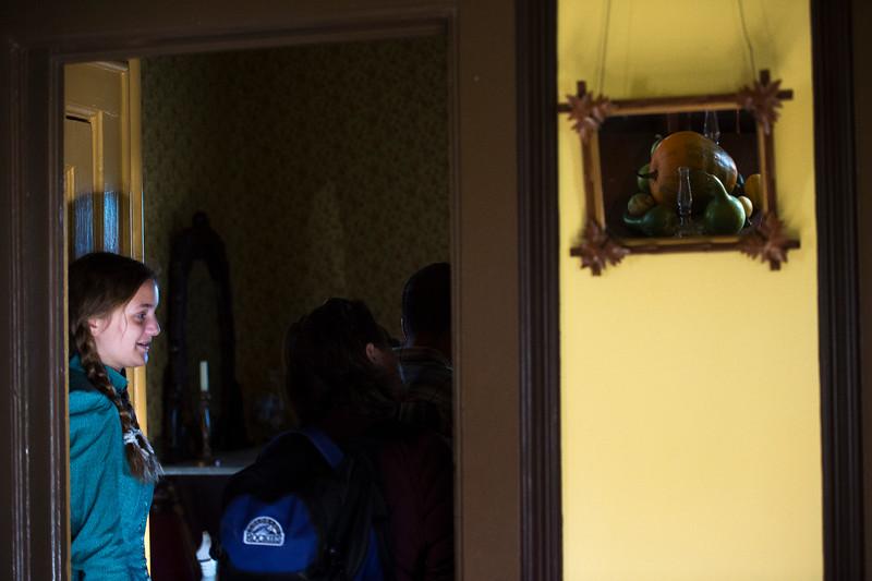 Zoe Huesgen Hobbs guides visitors through the the Rock Ledge House during the Harvest Festival on Saturday, Oct. 7, 2017.<br /> <br /> (The Gazette, Nadav Soroker)