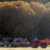 Danny Summers drives visitors on a hay ride around Rock Ledge Ranch during the Harvest Festival on Saturday, Oct. 7, 2017. The hay ride ran continuously all day, without any shortage of riders.<br /> <br /> (The Gazette, Nadav Soroker)