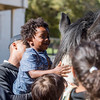 Wilbert Diggs III, 3, pets a horse at Rock Ledge Ranch while his father, Wilbert Diggs Jr., holds him up at the Harvest Festival on Saturday, Oct. 7, 2017. The Ranch had pumpkins for sale and pie available but ran out of both around noon.<br /> <br /> (The Gazette, Nadav Soroker)