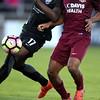Switchbacks defender Sean McFarlane battles a Republics player for the ball at Wiedner Field on Saturday, Oct. 7, 2017.<br /> <br /> (The Gazette, Nadav Soroker)