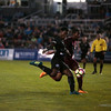 Switchbacks forward Kevaughn Frater kicks in a goal against the Sacramento Republics at Wiedner Field on Saturday, Oct. 7, 2017. Frater took the lead for the team in the first half.<br /> <br /> (The Gazette, Nadav Soroker)