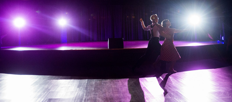 David Moon and Jessica Mancini dance along the main floor at Stargazers Theater during the Swinging' with the Stars on Sunday, Oct. 8, 2017. After the final song the main floor was opened for social dancing.<br /> <br /> (The Gazette, Nadav Soroker)