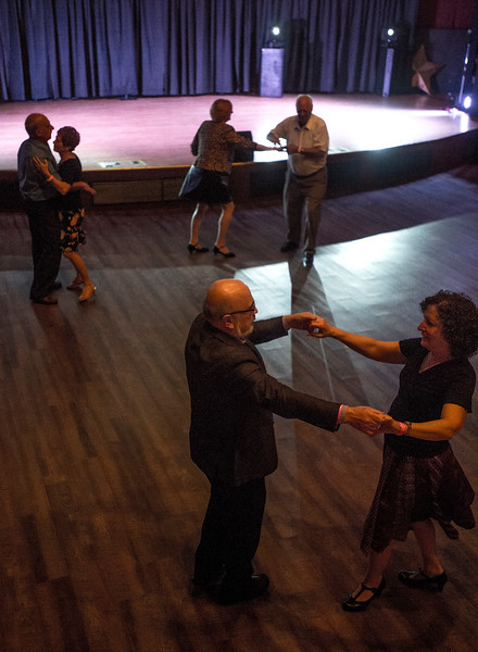 Pairs of dancers cross the floor during the social dancing after the main performance at Stargazers Theater on Sunday, Oct. 8, 2017.<br /> <br /> (The Gazette, Nadav Soroker)