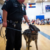 Corporal Matt Sanchez pets Amp after searching a locker room at Fountain Middle School in Fountain, Colo. on Tuesday, Oct. 10, 2017. Amp earned her name from her high energy levels.<br /> <br /> (The Gazette, Nadav Soroker)