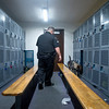 Amp sniffs an open locker at Fountain Middle School in Fountain, Colo. on Tuesday, Oct. 10, 2017. She is trained to identify six different narcotics, though her work at schools is mostly preventative: just knowing she is around lowers student drug incidents.<br /> <br /> (The Gazette, Nadav Soroker)