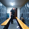 Amp sniffs lockers at Fountain Middle School in Fountain, Colo. on Tuesday, Oct. 10, 2017. She is trained to identify six different narcotics, though her work at schools is mostly preventative: just knowing she is around lowers student drug incidents.<br /> <br /> (The Gazette, Nadav Soroker)