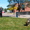 Amp searches for keys outside the Dean Fleischauer gymnasium at Fountain Middle School in Fountain, Colo. on Tuesday, Oct. 10, 2017. Amp does practice and demonstration searches regularly to maintain her training.<br /> <br /> (The Gazette, Nadav Soroker)