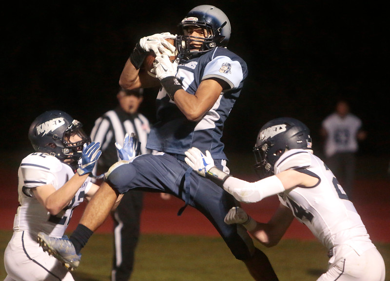 Widefield junior Luis Maldonado catches a pass for a two-point conversion at Widefield's CA Foster stadium on Friday, Oct. 13, 2017. Widefield won 28-24.<br /> <br /> (The Gazette, Nadav Soroker)