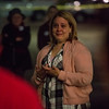 Ginger Coleman, an employee of Crunch Fitness, speaks at the memorial for Chris Roybal, a general manager at the gym and victim of the Las Vegas shooting, in Colorado Springs, Colo. on Sunday, Oct. 15, 2017. Coleman implored everyone to honor Roybal's memory by calling their loved ones.<br /> <br /> <br /> (The Gazette, Nadav Soroker)