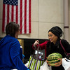 Ajia Cleveland, right, grabs her bags of food after going through the line at Pikes Peak Community College in Colorado Springs, Colo. on Monday, Oct. 16, 2017. Cleveland, a pre-nursing student at the school, recently moved to Colorado Springs.<br /> <br /> <br /> (The Gazette, Nadav Soroker)