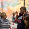 Andrea Griffin,a social work student at Pikes Peak Community College, and Spechyl Stewart, a social work student at CSU Pueblo and graduate of Pikes Peak Community College, laugh while volunteering at a food pantry at the college in Colorado Springs, Colo. on Monday, Oct. 16, 2017. Volunteers helped over 220 people who came to the event.<br /> <br /> <br /> (The Gazette, Nadav Soroker)