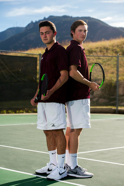 Michael Dashiell and Grant Leap play doubles tennis for Cheyenne Mountain High School and are the Prep Sports Peak Performers for the week. Photographed on Monday, Oct. 16, 2017.<br /> <br /> <br /> (The Gazette, Nadav Soroker)