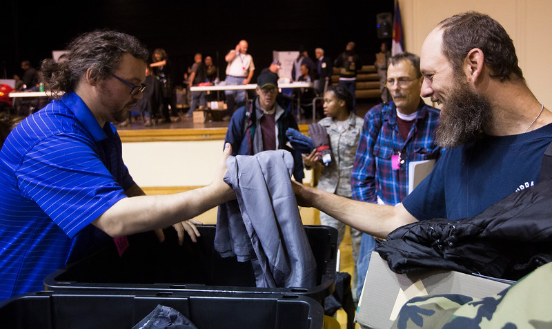 Veterans came to the Colorado Springs City Auditorium for an annual Veterans Stand-down where homeless veterans can receive services, food, winter clothes and haircuts on Tuesday, Oct. 17, 2017.<br /> <br /> <br /> (The Gazette, Nadav Soroker)