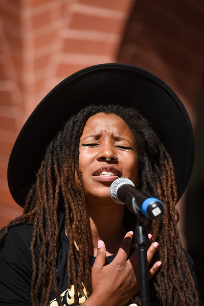 Aja Black of The Reminders performs at the Waldo Waldo 5k after-party on Saturday, Oct. 21, 2017.<br /> <br /> <br /> (The Gazette, Nadav Soroker)