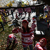 Makenzie Osban, 11, center, and Austin Johnson, 5, bat at bubbles stuck in the tree where the bubble machine was placed at the starting point for the Waldo Waldo 5k through downtown Colorado Springs on Saturday, Oct. 21, 2017.<br /> <br /> <br /> (The Gazette, Nadav Soroker)
