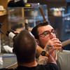 Andrew Cooke, face, and Ashton Longwell<br /> <br /> Worshippers gathered to drink beer and sing hymns in the Wild Goose Meeting House in Colorado Springs, Colo. on Sunday, Oct. 22, 2017.<br /> <br /> <br /> (The Gazette, Nadav Soroker)