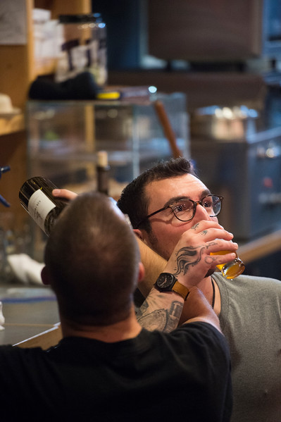 Andrew Cooke and Ashton Longwell<br /> <br /> Worshippers gathered to drink beer and sing hymns in the Wild Goose Meeting House in Colorado Springs, Colo. on Sunday, Oct. 22, 2017.<br /> <br /> <br /> (The Gazette, Nadav Soroker)