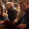 Patrick Lannen, right, and Liz Koch<br /> <br /> Worshippers gathered to drink beer and sing hymns in the Wild Goose Meeting House in Colorado Springs, Colo. on Sunday, Oct. 22, 2017.<br /> <br /> <br /> (The Gazette, Nadav Soroker)