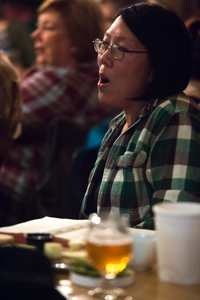 Ruth Burger<br /> <br /> Worshippers gathered to drink beer and sing hymns in the Wild Goose Meeting House in Colorado Springs, Colo. on Sunday, Oct. 22, 2017.<br /> <br /> <br /> (The Gazette, Nadav Soroker)