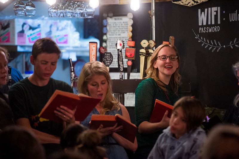 Asst. Pastor at First Baptist Jennifer Rutter, right<br /> <br /> Worshippers gathered to drink beer and sing hymns in the Wild Goose Meeting House in Colorado Springs, Colo. on Sunday, Oct. 22, 2017.<br /> <br /> <br /> (The Gazette, Nadav Soroker)