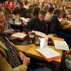 Peter Tuff, front, Patrick Lannen, center, and Emily Powell, right<br /> <br /> Worshippers gathered to drink beer and sing hymns in the Wild Goose Meeting House in Colorado Springs, Colo. on Sunday, Oct. 22, 2017.<br /> <br /> <br /> (The Gazette, Nadav Soroker)
