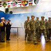 """Members of the 3rd Armored Brigade walk into the gymnasium for their homecoming while attendees clap in the William """"Bill"""" Reed Special Events Center in Fort Carson, Colo. on Sunday, Oct. 22, 2017.<br /> <br /> <br /> (The Gazette, Nadav Soroker)"""