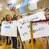 """Kids wait to welcome members of the 3rd Armored Brigade home from a training deployment in eastern Europe in the William """"Bill"""" Reed Special Events Center in Fort Carson, Colo. on Sunday, Oct. 22, 2017. The final 250 members returned of the 3,500 deployed.<br /> <br /> <br /> (The Gazette, Nadav Soroker)"""