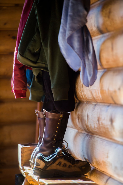 Boots and coats sit near the door in the lodge that Glenn Ryan lives in at AG Ranch in Bailey, Colo. Photographed on Tuesday, Oct. 24, 2017.<br /> <br /> <br /> (The Gazette, Nadav Soroker)