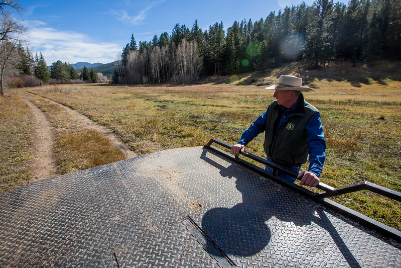 Glenn Ryan looks out at AG Ranch, a property of the U.S. Forest Service, while showing visitors around in Bailey, Colo. on Tuesday, Oct. 24, 2017. The Forest Service had many plans for the property when they acquired it, but now it mainly houses Ryan's mule string and gives fisherman public land access to Willow Creek.<br /> <br /> <br /> (The Gazette, Nadav Soroker)