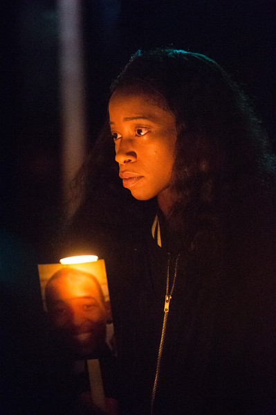 Charmaine Jones at a vigil for her brother, Conte Smith-El, on Friday, Nov. 3, 2017. ]Smith-El was killed at a business on East Platte avenue on Monday night, Oct. 30.