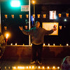 Conte Smith-El raises his arms offering hugs to anyone who might need one at the vigil for his son of the same name on Friday, Nov. 3, 2017. The younger Smith-El was killed at a business on East Platte avenue on Monday night, Oct. 30.