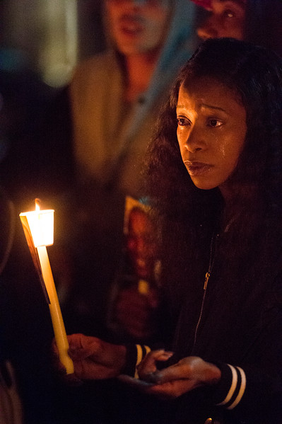 Charmaine Jones leads a vigil for her brother Conte Smith-El on Friday, Nov. 3, 2017. Smith-El was killed at a business on East Platte avenue on Monday night, Oct. 30.