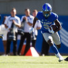Air Force Falcons wide receiver Ronald Cleveland (3) runs between Army Black Knights defensive back Mike Reynolds (10) and Army Black Knights linebacker Alex Aukerman (21)  at Falcon Stadium on Saturday, Nov. 4, 2017. The Black Knights lead 14-0 at half time.