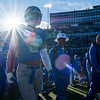 Air Force Falcons wide receiver Marcus Bennett (8) heads to the cadet section of the stands to sing the Alma Mater with his team after losing to the Army West Point Black Knights  21-0 at Falcon Stadium on Saturday, Nov. 4, 2017.
